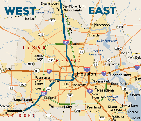 Map of Harris County showing west and east divisions